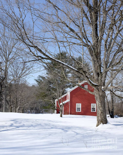New England Barn Photograph - Classic Vermont Red House In Winter by Edward Fielding
