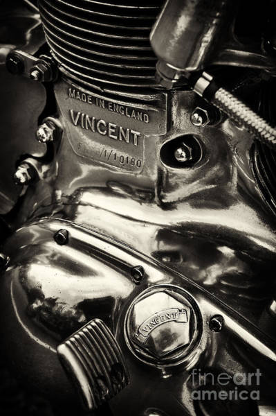 Chrome Engine Photograph - Classic Vincent Engine Sepia by Tim Gainey