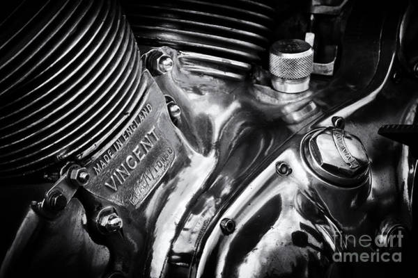 Chrome Engine Photograph - Classic Vincent Engine by Tim Gainey