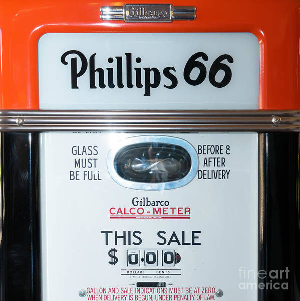 Photograph - Classic Vintage Gilbarco Phillips 66 Gas Pump Dsc02751 Sq by Wingsdomain Art and Photography