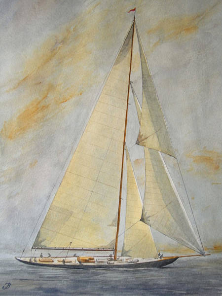 Yacht Wall Art - Painting - Classic Yacht by Juan  Bosco