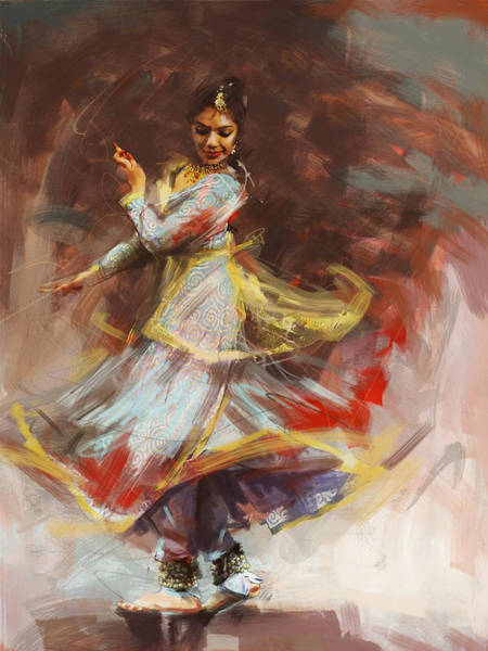 Dancers Wall Art - Painting - Classical Dance Art 8 by Maryam Mughal