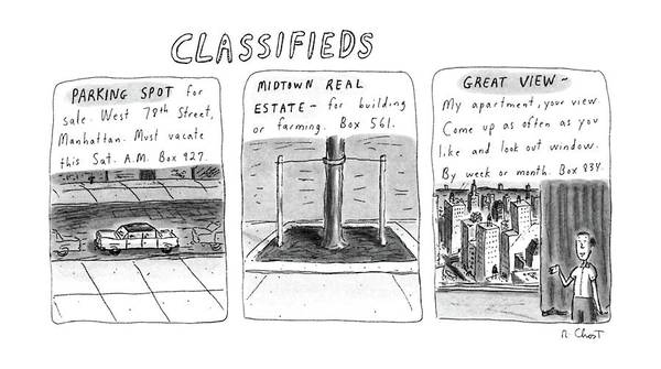 March 3rd Drawing - Classifieds by Roz Chast