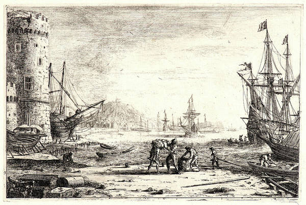 Wall Art - Drawing - Claude Lorrain French, 1604 - 1682. Seaport With A Round by Litz Collection
