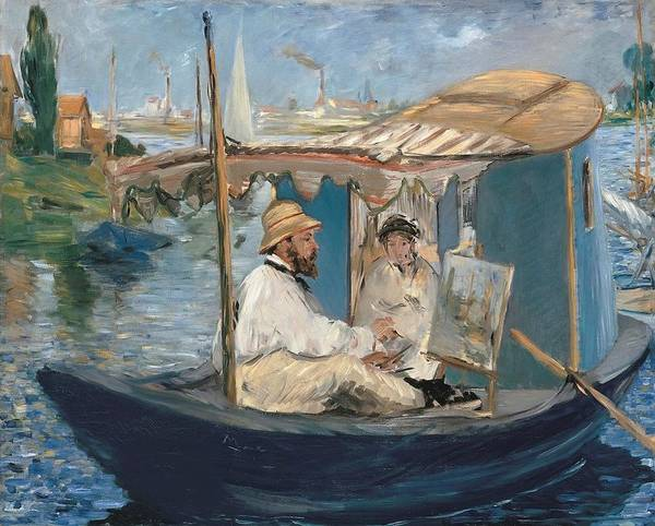 Wall Art - Painting - Claude Monet Painting On His Studio Boat by Edouard Manet