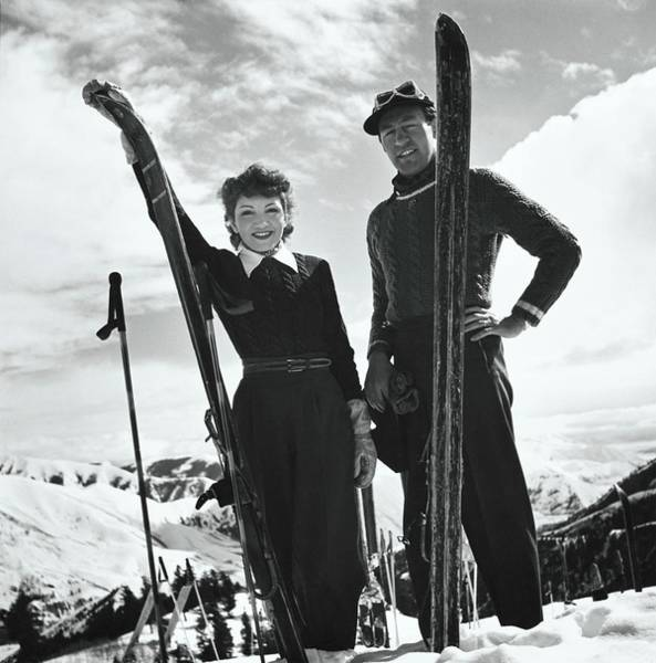 Snow Photograph - Claudette Colbert And Ronald Balcolm Posing by Toni Frissell