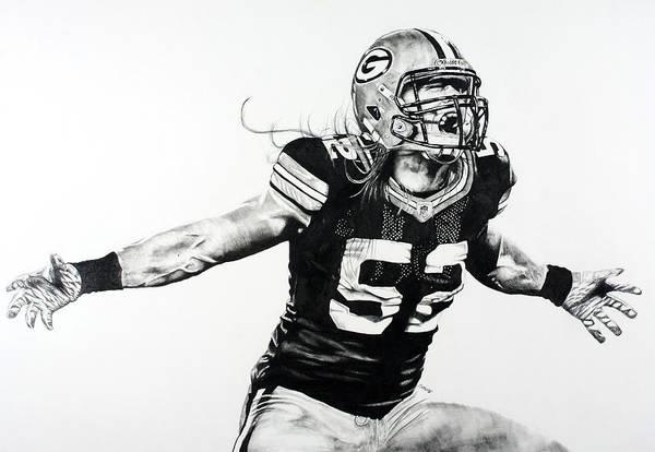 Nfl Drawing - Clay Matthews by Jake Stapleton