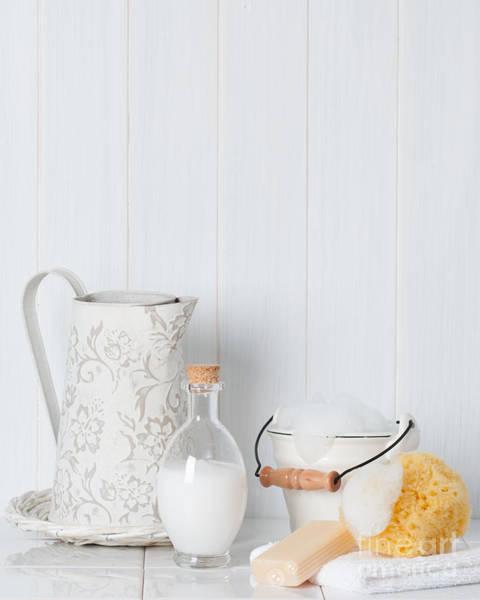 Bubble Bath Photograph - Clean Fresh Bathroom Items by Amanda Elwell