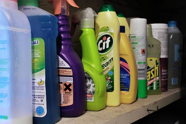 Wall Art - Photograph - Cleaning Products On Shelf by Robert Brook/science Photo Library
