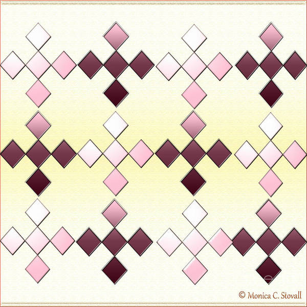 Digital Art - Clear And Gradient Purple Diamonds On White And Pale Yellow Design by Monica C Stovall