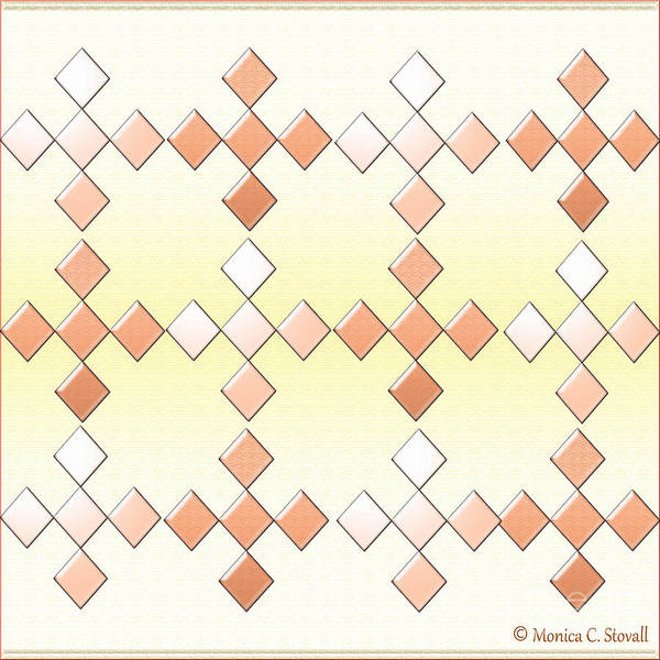 Digital Art - Clear And Gradient Tan Diamonds On White And Pale Yellow Design by Monica C Stovall