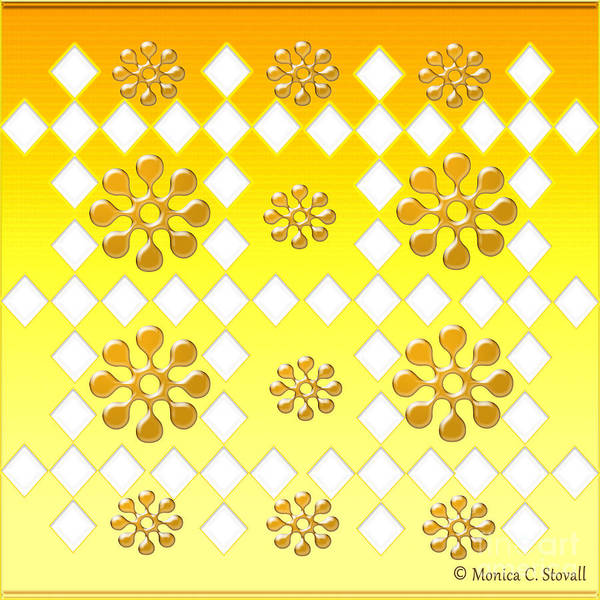 Digital Art - Clear Diamonds And Gold Flowers On Gradient Yellow Design by Monica C Stovall