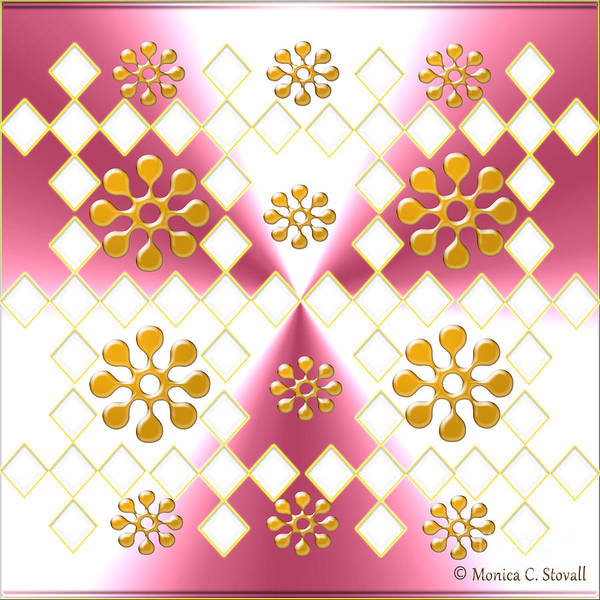 Digital Art - Clear Diamonds And Gold Flowers On Pink And White Design by Monica C Stovall