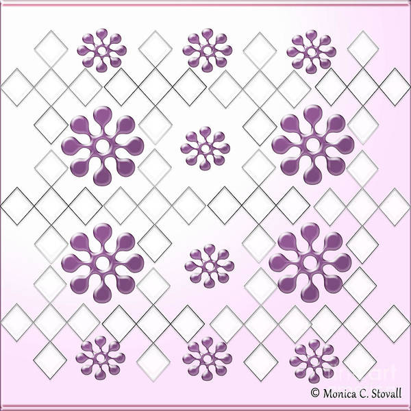 Digital Art - Clear Diamonds And Purple Flowers On Gradient Light Purple Design by Monica C Stovall