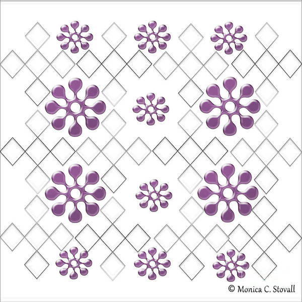 Digital Art - Clear Diamonds And  Purple Flowers On White Design by Monica C Stovall