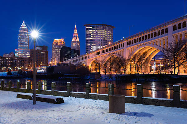 Clear Sky Cleveland Winter Art Print
