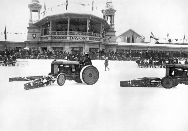 Sweeping Photograph - Clearing The Rink In Davos by Underwood Archives