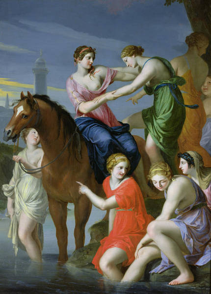 Heroine Photograph - Clelia Crossing The Tiber Oil On Canvas by Jacques Stella