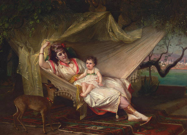 Intimate Portrait Wall Art - Painting - Clementine Stora And Her Daughter Lucie by Constant Joseph Brochart