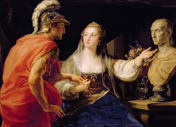 Demonstration Wall Art - Photograph - Cleopatra Showing Octavius The Bust Of Julius Caesar Oil On Canvas by Pompeo Girolamo Batoni