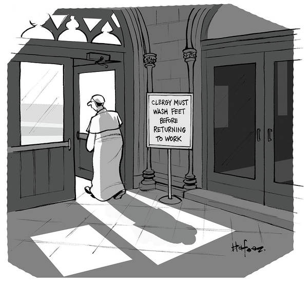 Place Of Work Drawing - Clergy Must Wash Feet Before Returning To Work by Kaamran Hafeez
