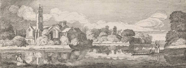 Riverbank Drawing - Clerics At An Abbey In A River Landscape by Jan Van De Velde Ii And Willem Pietersz. Buytewech