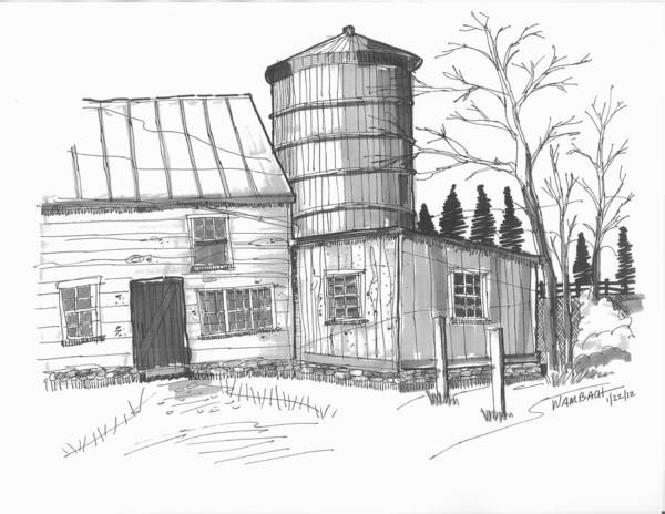 Drawing - Clermont Barn 1 by Richard Wambach