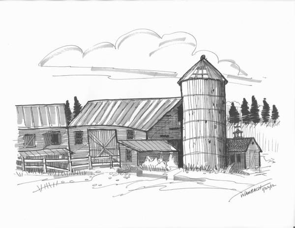 Drawing - Clermont Barn 2 by Richard Wambach