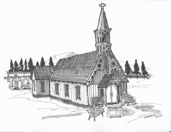 Drawing - Clermont Chapel by Richard Wambach