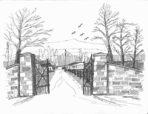 Drawing - Clermont Farm Gate by Richard Wambach