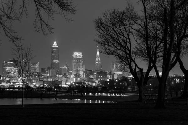 Photograph - Cleveland At Night In Black And White by Clint Buhler