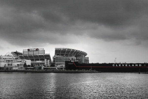 Mono Photograph - Cleveland Browns Stadium From The Inner Harbor by Kenneth Krolikowski