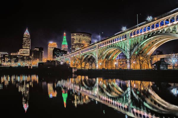 Photograph - Cleveland Christmas Bridge by Richard Kopchock