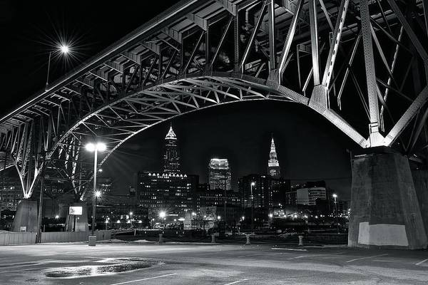 Metro Detroit Photograph - Cleveland Framed In Black And White by Frozen in Time Fine Art Photography
