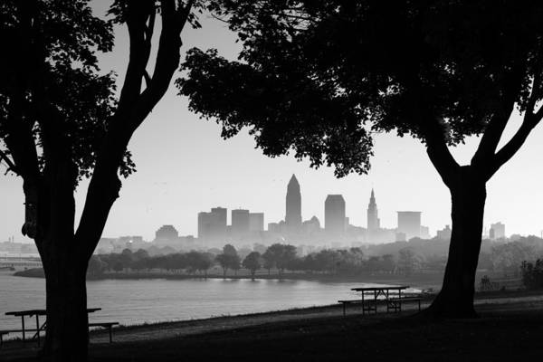 Photograph - Cleveland Morning Fog In Black And White by Clint Buhler