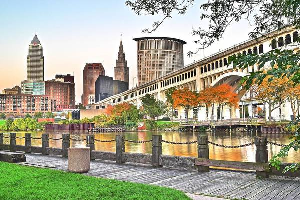 Metro Detroit Photograph - Cleveland Ohio Alongside The Cuyahoga by Frozen in Time Fine Art Photography