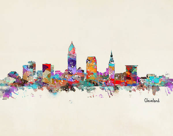 Usa Painting - Cleveland Ohio Skyline by Bri Buckley