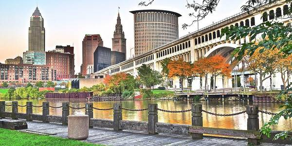 Playhouse Photograph - Cleveland Panorama Over The Cuyahoga by Frozen in Time Fine Art Photography