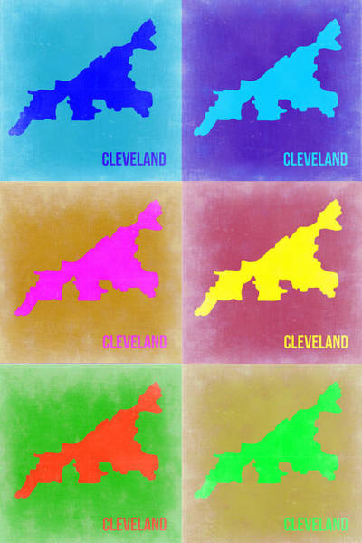 Wall Art - Painting - Cleveland Pop Art Map 3 by Naxart Studio