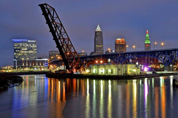 Courthouse Towers Wall Art - Photograph - Cleveland Rainbow by Frozen in Time Fine Art Photography
