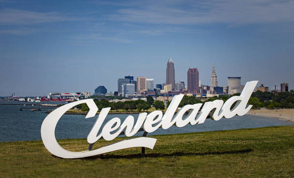 Cleveland Sign And Skyline Art Print by Photo by Mike Kline (notkalvin)