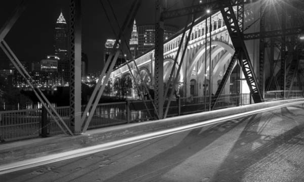 Photograph - Cleveland Swing Bridge Skyline by Clint Buhler