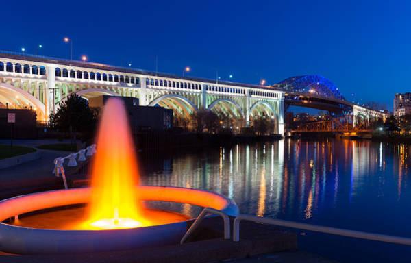Photograph - Cleveland Veterans Bridge Fountain by Clint Buhler