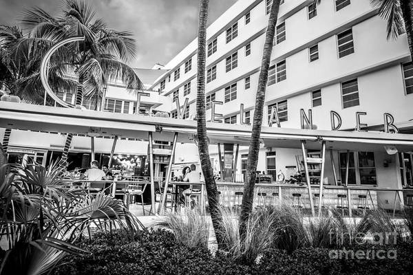 Wall Art - Photograph - Clevelander Hotel Art Deco District Sobe Miami Florida - Black And White by Ian Monk