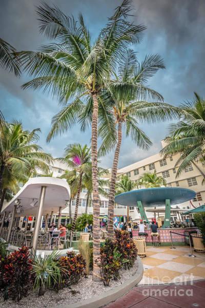 Multi-storey Wall Art - Photograph - Clevelander Hotel Illuminated Palms Sobe Miami Florida - Hdr Sty by Ian Monk