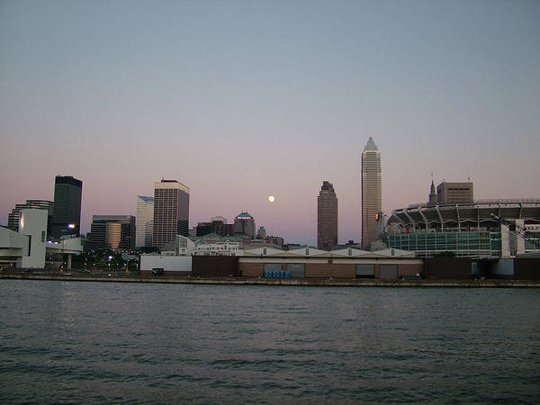 Wall Art - Photograph - Cleveland's Moon Downtown by Liz Copic