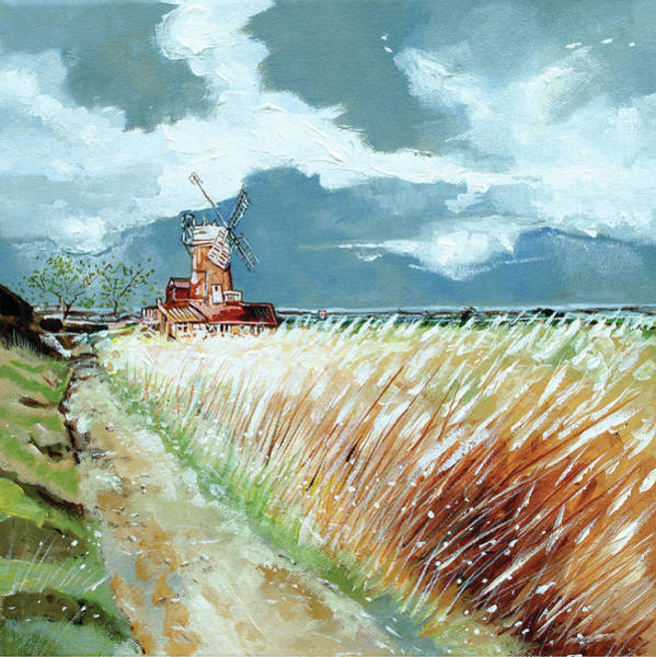 Skyscape Painting - Cley Windmill by Stuart Roy