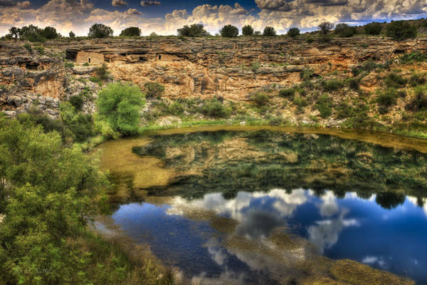 Dwelling Photograph - Cliff Dwellings With A Lake Front View by Medicine Tree Studios
