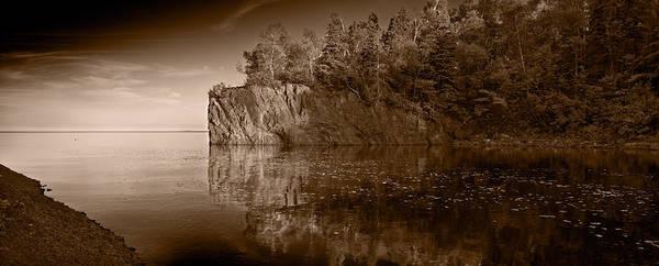 Lake Superior Photograph - Cliff Face Northshore Mn Bw by Steve Gadomski