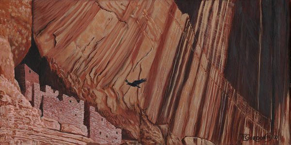 Pueblo Painting - Cliff Home by Timithy L Gordon